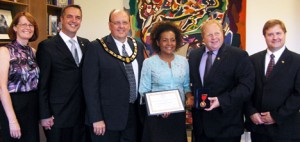 Cindy Robertson, Doug Anthony HRF, Kin Canada National President Dave Ronson, Right Honourable Michaëlle Jean, Kin Canada Foundation President Curtis Kimpton and Kin Canada Foundation treasurer and life member Sean Thompson